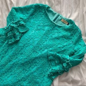 Teal Lace Girls Dress • Sz 12• NUGGLES